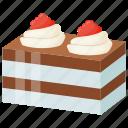 cake piece, cake slice, chocolate cake, dessert, vanilla chocolate pastry icon