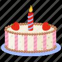 birthday cake, candle cake, dacquoise cake, dessert cake, party cake icon
