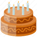 birthday cake, candles cake, chocolate cake, dessert, sweet food icon