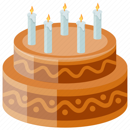 Birthday Cake Candles Chocolate Dessert Sweet Food Icon