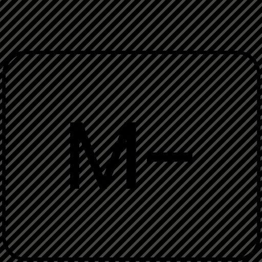 calculator, function, m, math, minus, operation icon