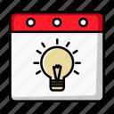 creative, bulb, idea, date, lamp, day, calendar