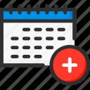 add, calendar, date, new, planner, plus, week icon