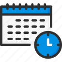 calendar, clock, date, planner, time icon