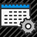 calendar, cogwheel, date, options, planner, settings icon