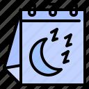 calendar, date, moon, night, sleep, table