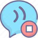 message, stop, voice icon
