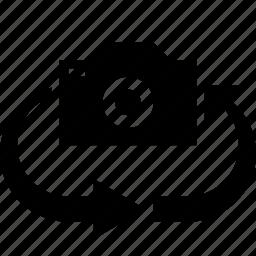 arrow, camera, change, swap, turn around, view icon