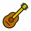 adventure, camp, guitar, nature icon