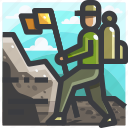 backpacker, camping, equipment icon