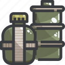 camping, equipment, food, water icon