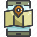 map, navigation, planning, smartphone icon