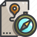 camping, compass, equipment, map icon