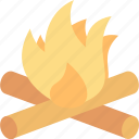 bonfire, campfire, camping, fire, firewood, flame, wood icon