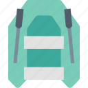boat, rubber, inflatable, oar, paddle, raft, sailing icon
