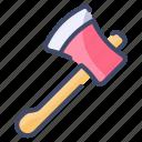 axe, camping, hatchet, log, tool, weapon