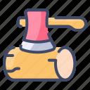 axe, camping, chop, log, tool, wood