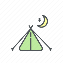camp, camping, filled, night, tent icon