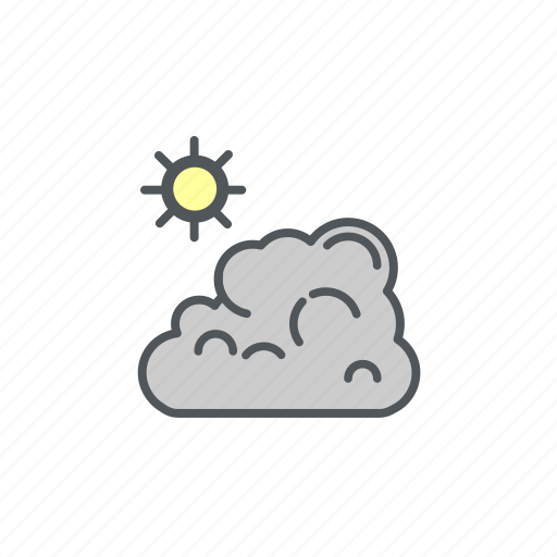 camping, cloud, filled, sunny, weather icon