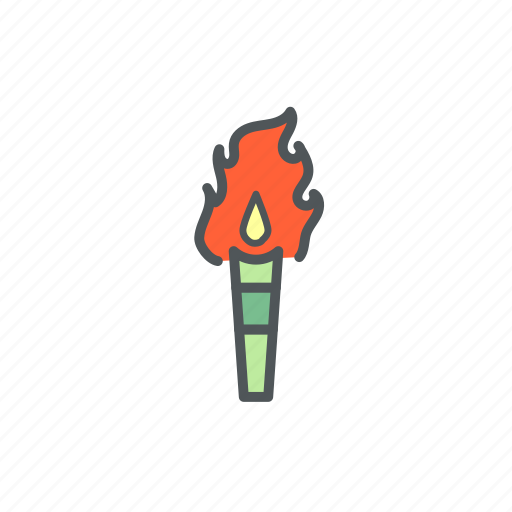 camp, camping, filled, fire, torch icon