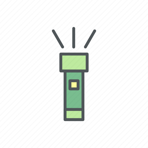 camp, camping, filled, flashlight, light icon
