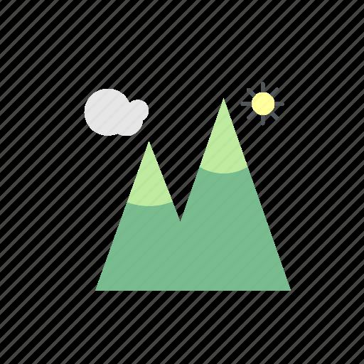 camp, camping, mountain, nature, sun icon