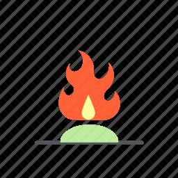 bonfire, camp, campfire, camping, fire, night icon