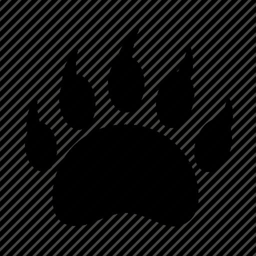 animal, bear, camping, danger, footprint, predator, wild icon