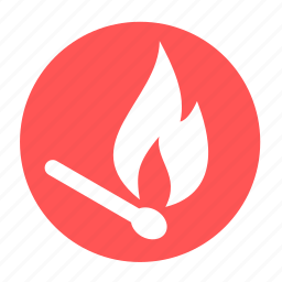 camping, fire, lighter, lucifer, match, safety icon