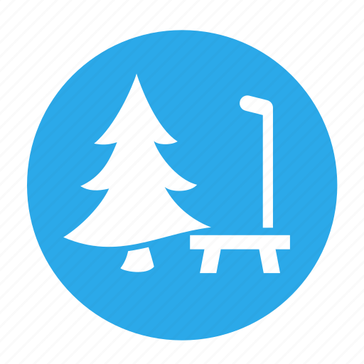 bench, camping, chair, park, tree, vacation icon