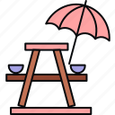 camp, camping, holiday, holidays, outdoor, umbrella, vacation icon