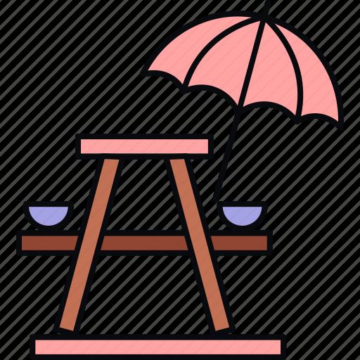 camp, camping, holiday, holidays, outdoor, umbrella, vacation icon