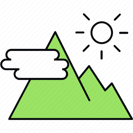 hill, image, mountain, mountains, scenery, sun icon