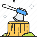 axe, camp, camping, chop, firewood