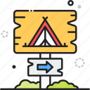 camp, camping, campsite, direction, sign