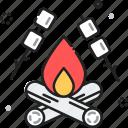 bonfire, camp, campfire, camping, marshmallow