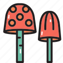 camping, forest, mushroom, plants icon