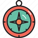 camping, compass, direction, touring icon