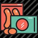 egg, food, hotdog, pack