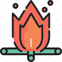 camping, fire, log icon