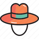 camping, hat, sun, wear icon