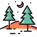 forest, nature, star, moon, tree, camp