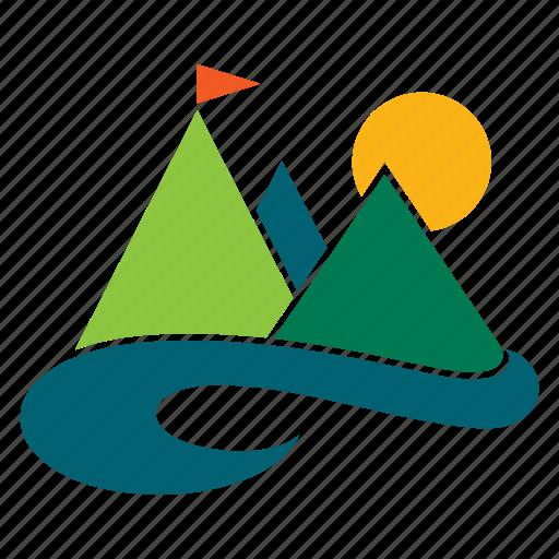 landscape, mountain, nature, outdoor, river, tourism, travel icon
