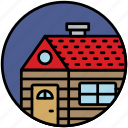 accommodation, bungalow, camping, house, log cabin, travel, wooden house icon