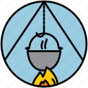 cauldron, fire, fireplace, goulash, meal, picnic, pot icon