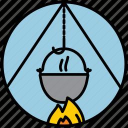 cauldron, fire, fireplace, goulash, meal, picnic, pot icon