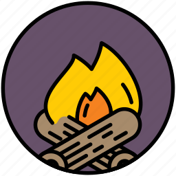 camp, fire, fireplace, flame, grill, hearth icon