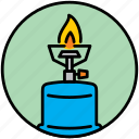 bottle, camp, cooker, fire, flame, gas, gas bottle icon