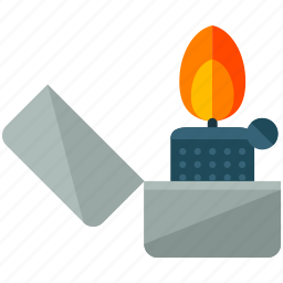 camping, essentials, fire, flame, light, lighter icon