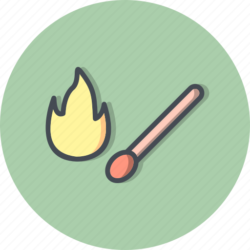 burn, fire, flame, match stick icon